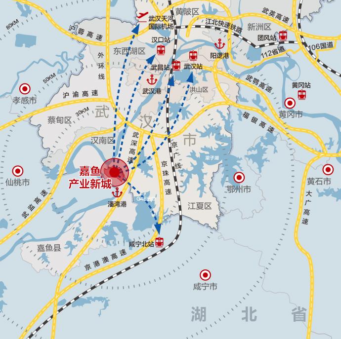 嘉鱼产业新城 武汉嘉鱼县北部 工业用土地出售招商引资   精密加工件、能源装备、工程机械、汽车配件 、高端装备制造